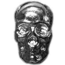 "Hand Poured 1 oz Silver Bar ""Skull"" .999 Fine Silver | YPS"