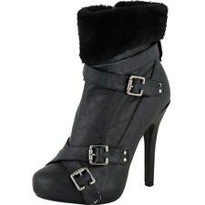 New Women/Juniors Stylin Black Platform Fashionable Boots Size 8