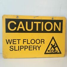 Metal Two Sided Industrial Caution Sign Wet Floor Slippery Amp Caution Blank