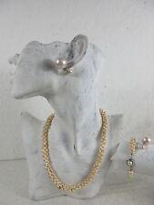 Perlenkette Halskette & Armband, ca. 600 Zuchtperlen Collier & gratis Ohrstecker