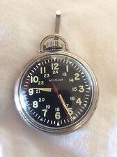 Serviced, 1970 WESTCLOX LUMINOUS 24 SWEEPER, Mech-Winding Pocket Watch, USA made