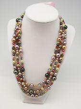 "MAYA 18"" to 30"" PINK MULTI FAUX PEARL CRYSTAL FASHION STRING SILVER NECKLACE NEW"