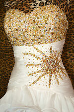 MAC DUGGAL 6177M IVORY GOLD EVENING PAGEANT PROM FORMAL WEDDING GOWN DRESS sz 10