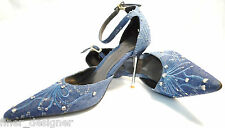 PALOVIO SHOES Strappy pumps Denim Stud Distressed Metal Stiletto Heels 6.5 NEW