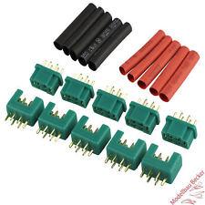 5 Paar Amass Hochstromsteckverbinder grün Stecker/Buchse mit Schrumpfschlauch