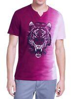 INC Mens T-Shirt Pink Purple Large L Ombre Metallic Tiger Split Neck Tee $29 016