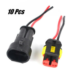 10Kit 12V 2Pin Cable Wire Connector Plug Waterproof Sealed For Electrical Car