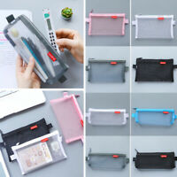 School Student Pencil Case Transparent Womens Make-up Small Bag Zip Mesh Storage
