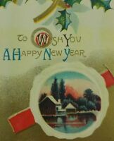 New Year's Greeting Vintage Embossed Postcard Snow Pine farmhouse a2-300