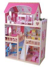 Grande maison de poupée en bois + trois poupées