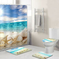 4PC/Set Anti-Slip Bathroom Toilet Rug+Lid Toilet Cover+Bath Mat+Shower Curtain