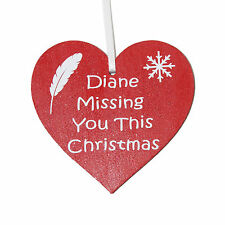 Personalised Missing you this Christmas red heart memorial Christmas decoration