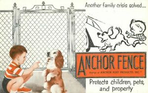 Advertising Anchor Fence Artist impression Child Dog Postcard 20-5024