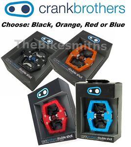 Crank Brothers Double Shot 2 Clipless & Platform Bike Pedals Black Orange Blue