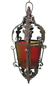 Colored Glass Metal Hanging Home Garden Church Decorative Candle Holder Lantern