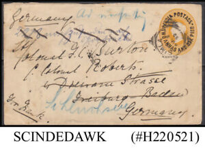 INDIA - 1892 2a6p QUEEN VICTORIA QV ENVELOPE TO GERMANY