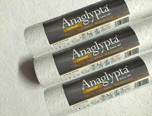 3x ROLLS Anaglypta PASTE THE WALL Reinforced Woodchip Wallpaper New Textured 10M