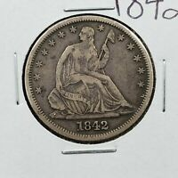 1842 Seated Liberty Silver Half Dollar Choice VF VERY FINE NICE Medium Date