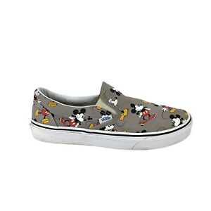 Vans x Disney Classic Slip On Womens Size 9.5 Mickey Mouse Gray Sneakers Retured