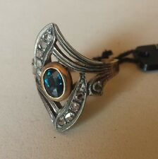 anello oro e argento  antico zaffiro e diamanti