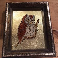 Great Horned Owl Painting Reverse image on Glass Foil Gold Frame Folk Art 5x6