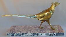 Antique French ART DECO Gilt Sculpture Bonze & Marble Pheasant Signed JAMAR
