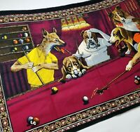 Tapestry Dogs Playing Pool Made in Turkey Fabric Wall Decor Man Cave 38x57