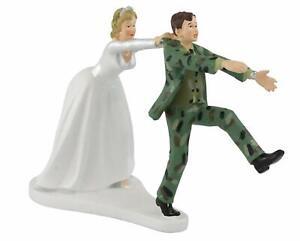 "Wilton Camo Groom Bride Military Wedding Cake Topper Figurine, 6.3"" W x 4.25"" H"