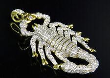 "Mens Yellow Gold Finish .925 Sliver Lab Diamond Scorpion Horoscope Pendant 2"""