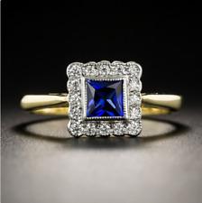 ❤️Ring Size P 9ct Gold 925 Blue ❤️Sapphire & Diamond Princess UK FREE Postage❤️