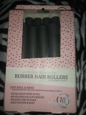 BRAND NEW My Beauty Spot Professional Salon Quality Rubber 12 Hair Rollers Grey