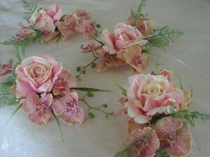 TROPICAL WEDDING TABLE CENTREPIECE SET of 5 pieces , pink orchids and roses