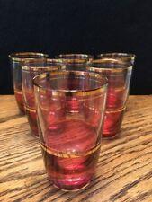 "6 Ruby Flash Gold Trim 4 Oz Juice Glasses 3.5"" VGC"