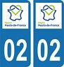Département 02 -2 autocollants style immatriculation AUTO PLAQUE HAUTS DE FRANCE