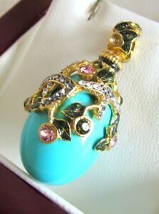 PENDANT TURQUOISE GENUINE RUSSIAN SOLID STERLING SILVER 925 & 24K GOLD SUPERB