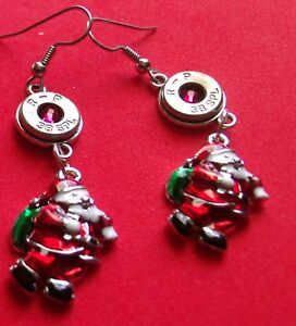 BULLET EARRINGS  38 SPECIAL WITH SANTA  STAINLESS EAR WIRE NEW UNUSED