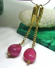 AAA AWSOME NATURAL BUBBLE GUM PINK SAPPHIRE NUGGETS 14K GOLD LEVERBACK EARRINGS
