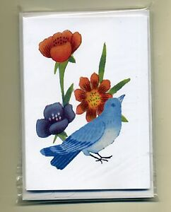 16 BIRD & FLOWERS LETTER CARD NOTELETS {FREE POSTAGE} by SELF-REP' ARTIST