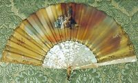 AB-175 FAN. NACRE. HAND-PAINTED SILK. SIGNED A. MARTI. SPAIN. XIX.