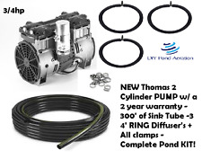 New 220V Thomas 3/4hp Pond Aerator System-100' Wtd Hose/ 2 Ring Diffuser 1+ Acre