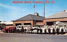 c1960 DE REHOBOTH Volunteer Fire Co Firetrucks Ambulance Fireman postcard A11