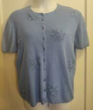 Jenny Embroidered Floral Stitched Stretch Button Down Sweater - Size XL