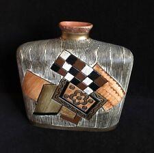 """Pottery Vase~Browns Black Gold Orange~9.25"""" High"""