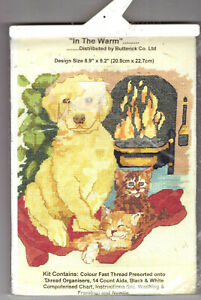 REDUCED! In The Warm - Dog & Cats By The Fire Butterick Counted Cross Stitch Kit