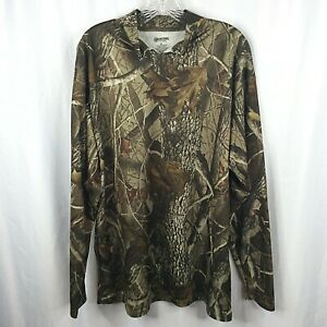Outfitters Ridge T-Shirt Mens XL Camo Hunting Realtree Hardwoods Long Sleeve