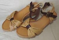NIB Brown Tan Leather Cork Wedge Sandals DIBA TRUE Sz 9