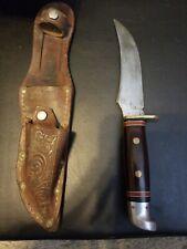 Vintage Western Fixed Blade Hunting Knife W/ Sheath