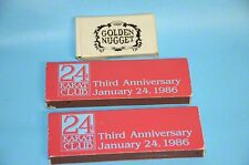 1986 Golden Nugget AC  24 Kt.Club  3rd Anniversary Matches &  Key Chain