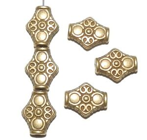 MB911 Antiqued Bronze 15mm Flat Diamond Patterned Metal Alloy Beads 25pc