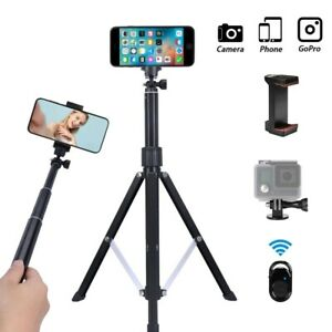 Phone Tripod Stand 63 Inch Portable Alloy Selfie Stick Remote Smartphone Holder